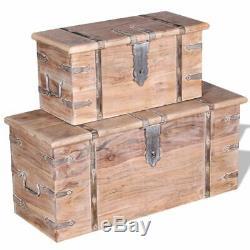 VidaXL 2 Piece Solid Wood Storage Chest Set Lockable Coffee Table Cabinet