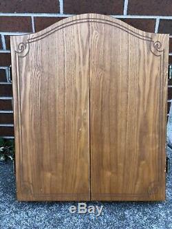 Vintage Dart Board Wooded Cabinet W. Steel Tips Dart Set