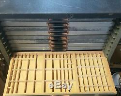 Vintage Letterpress Type Set 24 Drawer Steel Printer Cabinet