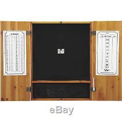 Viper Metropolitan Steel Tip Dartboard Cabinet Set Oak Finish