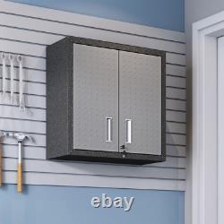 Wall Mounted Metal Garage Cabinet Adjustable Shelves 30 Textured Grey Set of 2