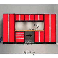 Warehouse Steel Cabinet Set Workshop 8-Piece Car Garage Storage Furniture RED