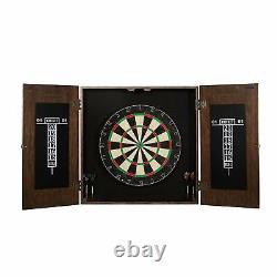 Webster Collection Sold Wood Dart Board Cabinet Set, Steel Tip Darts