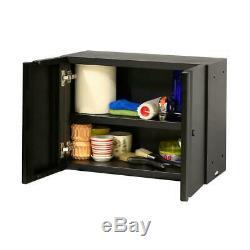 Welded 133 In. W X 75 In. H X 19 In. D Steel Garage Cabinet Set In Black 8-Piec