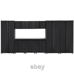 Welded 163 In. W X 75 In. H X 19 In. D Steel Garage Cabinet Set In Black 10-Pie