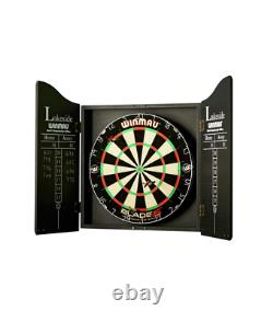 Winmau Home Double Sided Dartboard, Cabinet and Darts Set Blade 5 Championship