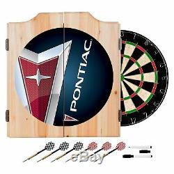 Wood Dartboard Game 18 in. Self Healing Sisal Fiber Steel Tip Darts Cabinet Set