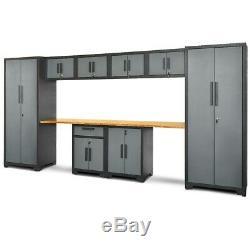 10 Pcs Garage Armoire De Rangement Set Workbench Avec Bamboo Furniture Accueil Plan De Travail