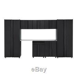 133 Dans Soudé. W X 75 In. H X 19 In. D Acier Garage Cabinet Set In Black 8 Piec