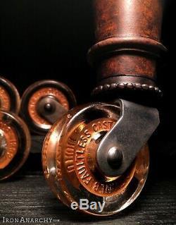 1800 Tableau De Verre Roulettes Antique Vtg Vieux Meubles Tige En Métal Ensemble Roue