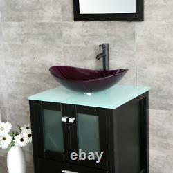 24 Pouces Salle De Bain Moderne Vanity Cabinet Évier En Verre Pétoncle Avec Ensemble Mirror