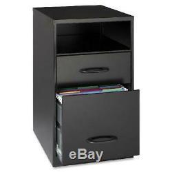 2-tiroirs Noir Classeur Vertical En Acier Cabinet Office Poste De Travail Meuble De