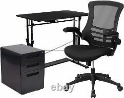 3 Piece Office Set Réglable Computer Desk, Office Chair And Filing Cabinet Nouveau