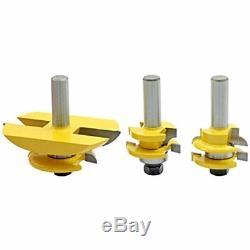 3pcs De 1/2 & 39 & 39 Panneau Shank Cutter Rail Lame Cabinet Routeur Bits Set De Fraisage