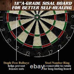 40 Dartboard Cabinet & Dart Set Led Lights 6 Steel Tip Darts & Vols