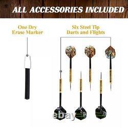 40 Dartboard Cabinet Set Led Lights Steel Tip Bulls Eye Darts Jeu Brown Black