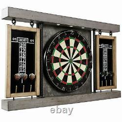 40 Dartboard Cabinet Set Steel Tip Darts Lampes Led Intégrées Salle De Jeu Jouer