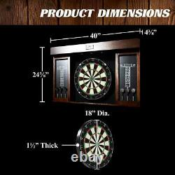 40 Inch Dartboard Cabinet Set Led Lights Steel Tip Darts Home Sports Fun Jeu