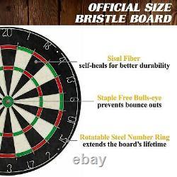 40 Inch Dartboard Cabinet Set Wood Dart Jeu Led Lumières Steel Astuce Darts Cricket