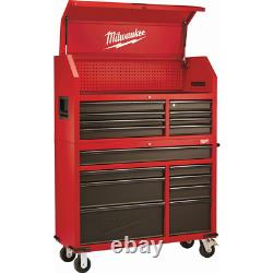 46 In. 16-drawer Steel Tool Chest And Rolling Cabinet Set, Rouge Texturé