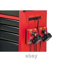 46 Po. 16-boîte D'outils En Acier De Dessinateur Et Ensemble D'armoire À Rouleaux, Rouge Texturé Et