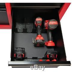 46in Cabinet De Coffre À Outils Verrouillable À Rouler En Acier À 46 Tiroirs Fixé Rouge Noir