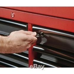 46in Cabinet De Coffre À Outils Verrouillable À Rouler En Acier À 46 Tiroirs Fixé Rouge Texturé Noir
