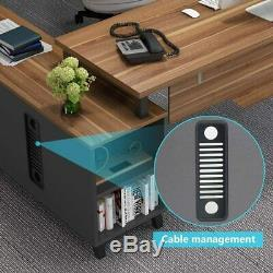 55 Bureau Exécutif Bureau Moderne D'affaires Bureau D'ordinateur Avec Fichier Cabinet Combo