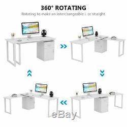 55 ' ' Rotation L-forme Coin Pour Ordinateur Pc Avec Classeur Bureau Table LX