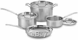 7 De Pots Set Acier Inox Poêle Sécurité Argent Kitchen Casseroles