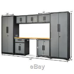 8 Pièces Bamboo Plan De Travail De 24 Gauge Garage Ensemble De Rangement Cabinet