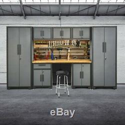 8pcs Coffret De Rangement En Acier De Garage Mis En Étagère De Support De Calibre 24 Avec Plan De Travail En Bambou