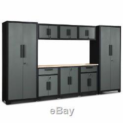 9 Pcs Cabinet Big Steel Garage Ensemble De Rangement De Calibre 24 Rack Étagère En Bois Avec Worktop
