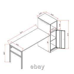Accueil Bureau Ajustable L-shaped Bureau D'ordinateur Avec Armoire De Rangement Armoire De Rangement