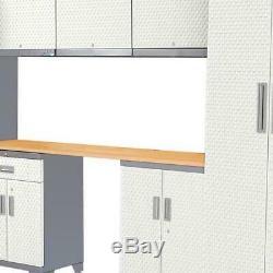 Armoire De Rangement Garage Dessus En Bois Blanc 72x132 En Acier De Calibre 24 8 Pièces Nouveau