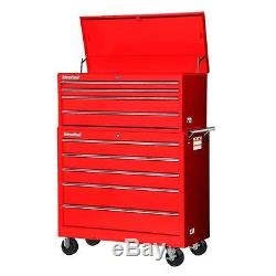 Armoire De Roulement Rouge De Coffre À Outils D'atelier Rouge Réglée Le Stockage Verrouillable De 42 Pouces 9 Tiroirs