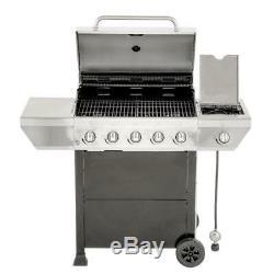 Barbecue Au Propane En Acier Inoxydable À 5 Brûleurs - Brûleur Latéral Avec Kit D'outils