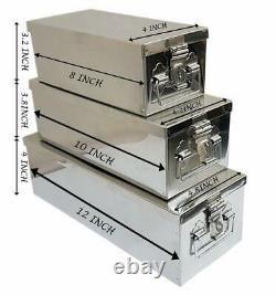 Boîtes À Serrures En Acier Inoxydable/boîtes À Bijoux/cash Peti Set 8, 10, 12, Argent