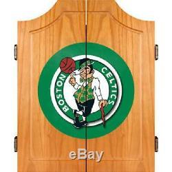 Boston Celtics Nba En Bois Dart Cabinet Set, 18 Diamètre Avec 6 Steel Tip Darts