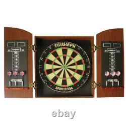 Bristle Dartboard Cabinet Set Steel Tip Darts Tableau De Bord Brown Wood