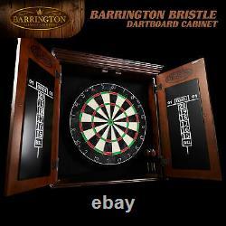 Bristole Dart Board & Cabinet Set W 6 Steel Tip Darts Flight Scoreboard Dartboard
