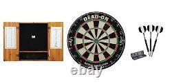 Britle Dartboard + Oak Cabinet + Black Steel Tip Darts Set