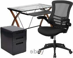 Bureau 3 Pièce Ensemble De Verre Bureau Avec, Chaise De Bureau Et Classeur Nouveau