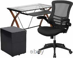 Bureau En Verre De 3 Pièces Avec Chaise De Bureau Et Cabinet De Dépôt Nouveau