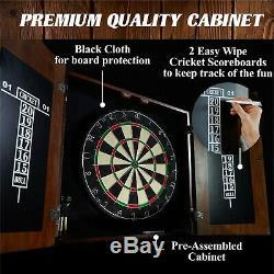 Cabinet En Bois Dartboard Set 6 Steel Tip Dart Chalk Board Autorétablissement Terminer