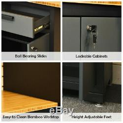 Cabinet Garage Storage Tool Set Système Bamboo Worktop Banc D'atelier 24 Gauge 8