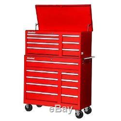 Cabinet Rouge De Roulement Coffre À Outils Set Rangement Atelier Verrouillables 42 Po. 16 Tiroirs