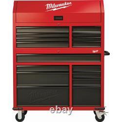 Coffre Milwaukee Outil En Acier 46 16 Tiroirs Cabinet De Roulement Ensemble Texturé Rouge Noir
