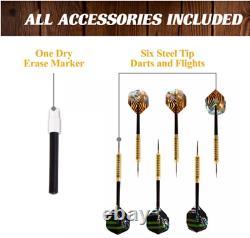 Dart Board Cabinet Bristle Set Solid Rebar Steel Support Pole Built-in Led Light