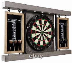 Dart Board Cabinet Bristole Set Solid Rebar Steel Support Pole Led Light Intégré